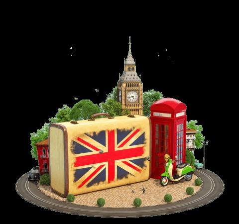 retro setting of UK themed items