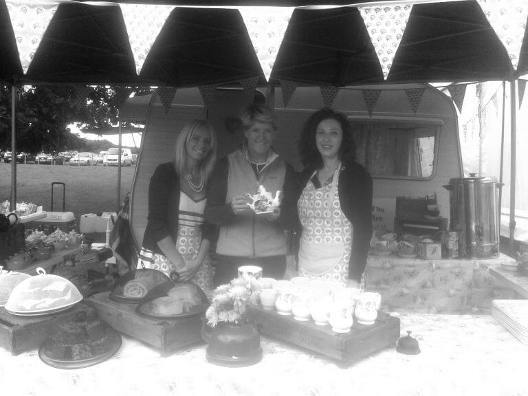 Photo of Clair Balding with Themed Catering staff